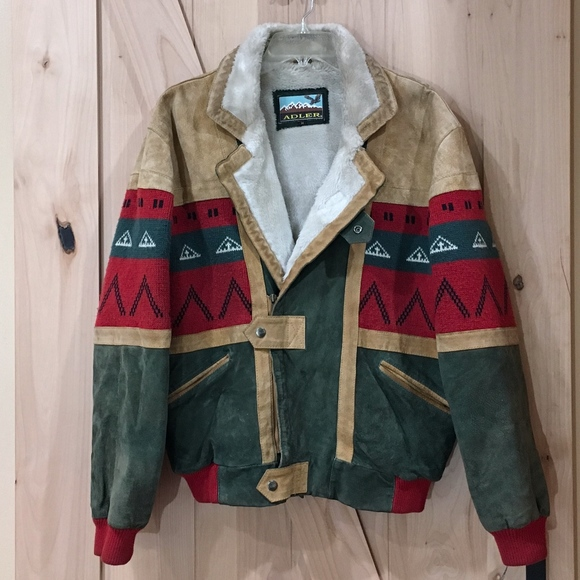 Vintage Other - Vintage Adler Suede Aztec Bomber Jacket Medium